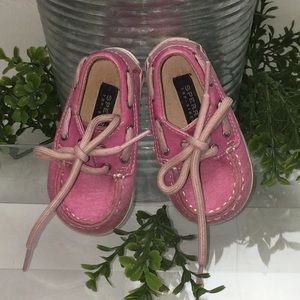 SPERRY Top Siders Bahama Crib Pink Shoes Sz 2
